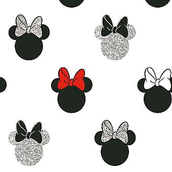 Disney Minnie Mouse Glitter Wallpaper White Graham and Brown 105828