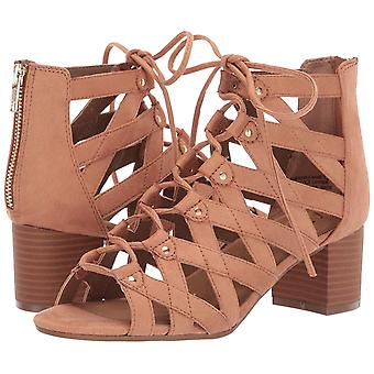 Aerosoles Middle Name Tan Stacked Heel Strappy Gladiator Cutout Lace Up Sandals