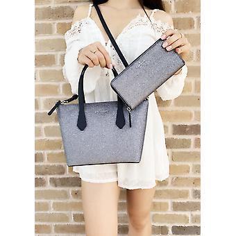 Kate spade joeley glitter ina small satchel crossbody bag + large wallet blue