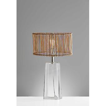"""14"""" X 14"""" X 24"""" Natural Glass Metal Tapered Table Lamp"""
