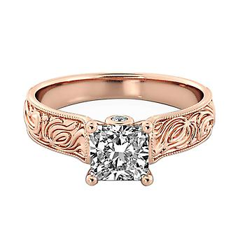 1.36 Carat G SI1 Diamond Engagement Ring 14K Rose Gold Solitaire w Accents Filigree Princess
