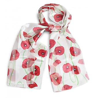 Union Jack Wear Silky White Poppy Scarf, With Green Stems