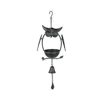 Rustic Weathered Metal Owl Hanging Bird Feeder With Bell Chime