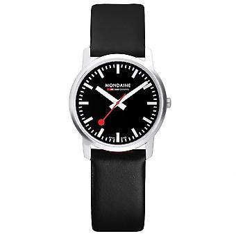 Mondaine einfach Elegant schwarzem Leder Armband Herrenuhr A638.30350.14SBB 41mm