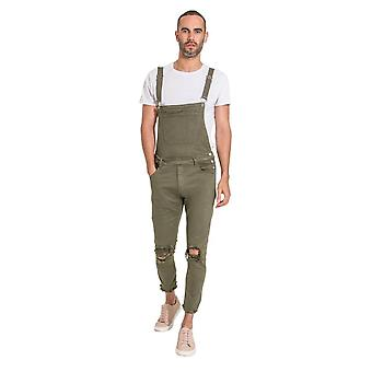 Theo mens slim fit dungarees with detachable bib green