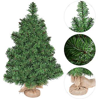 2FT/60CM Mini Artificial Tabletop Christmas Tree w/ Burlap Base Xmas Decoration