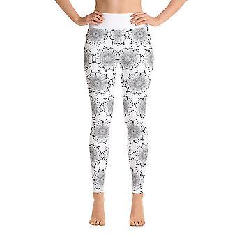 Legginsy treningowe | Legginsy do jogi | mandala w kolorze białym