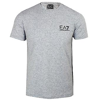 Ea7 emporio armani men's light grey melange taped t-shirt