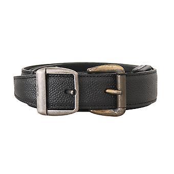 Dolce & Gabbana Black Leather Silver Gold Brushed Buckle  Belt