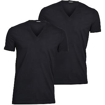 DSquared2 2-Pack Jersey Cotton Stretch V-Neck T-Shirts, Nero
