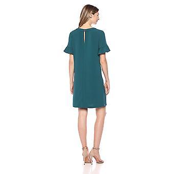 Lark & Ro Women's Short Sleeve Ruffle Trim T-Shirt Dress, Deep Teal, 10