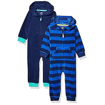 Essentials Boy's Baby 2-Pack Microfleece Kapuzencoverall, Sport, 6-9M