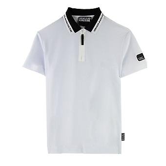 Versace Jeans Couture Zip Polo Collar Logo Wit
