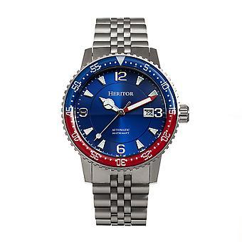 Heritor Automatic DominicBracelet Watch w/Date - Red&Blue/Blue