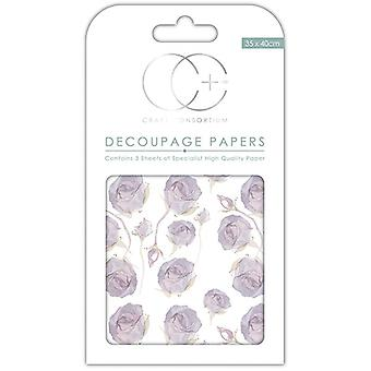 Craft Consortium Lilac Roses Decoupage Papers