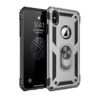 R-JUST iPhone 8 Plus Case - Shockproof Case Cover Cas TPU Gray + Kickstand