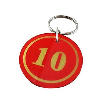 30pcs 3.5cm No.1-30 Key Tags with Iron Ring Red