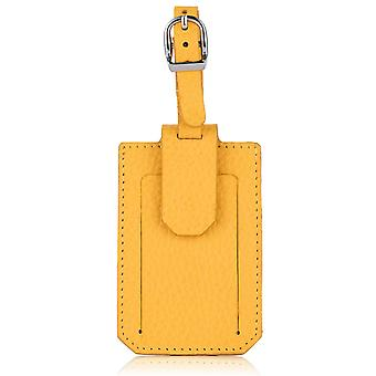 Aztec Yellow Richmond Luxury Leather Luggage Tag