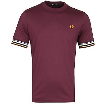 Fred Perry Mahogany Red Striped Cuff T-Shirt