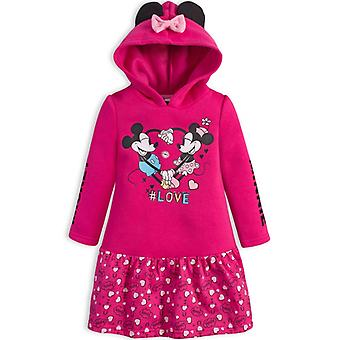 Girls TH1109 Disney Minnie Mouse Long Sleeve Hooded Dress