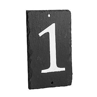 Natural Solid Slate House Numbers (0-9) Including Fixings & Caps - Number 1
