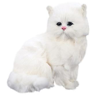 Realistic Cute Simulation Stuffed Plush White Cat Toys Cat Dolls Table Decor Kids Boys Girls Gift (white)