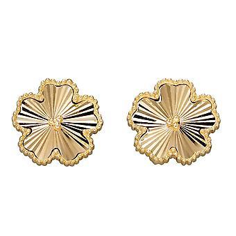 エレメンツ ゴールド 9ct グラニュール ダイヤモンド カット イエローゴールド フラワー スタッド イヤリング GE2350