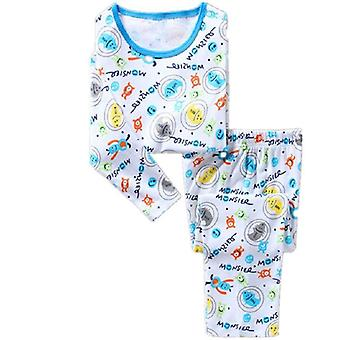 Robot Printed Pajamas Suit For Boys - Sleepwear Clothing Bottom T-shirts Set-2