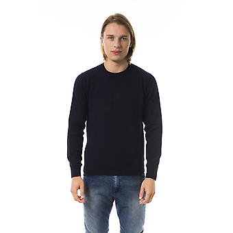 Uominitaliani Navy Blue Extrafine Wool Sweater