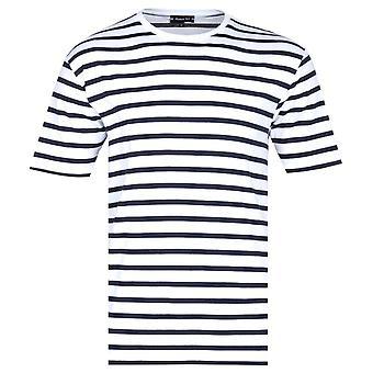 アーマー ラックス クラシック ブラック ストライプ クルー ネック ホワイト T シャツ