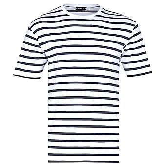 Armor Lux Classic Black Striped Crew Neck White T-Shirt