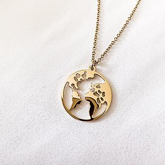 'my World' Gold Necklace - Made Of Stainless Steel