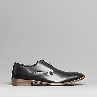 Silver Street London Saxon Mens Leather Derby Shoes Black