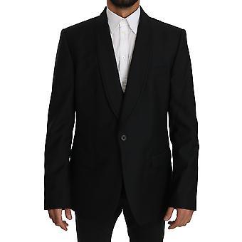 Dolce & Gabbana musta villa kaksiosainen liivi takki bleiseri