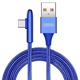 JOYROOM S-M98K 3A USB-C / Type-C Bullet Shape Quick Charging + Transmission Nylon Braided Data Cable, Length: 1.2m(Blue)