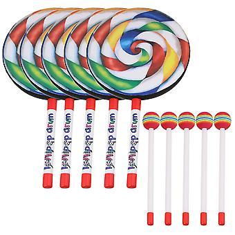 5PCS 7.9 Inch Lollipop Shape Drum Percussion Education Toys for Kids