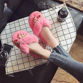 महिलाओं के घर चप्पल, अशुद्ध फर गर्म जूते, फर फ्लिप फ्लॉप गुलाबी