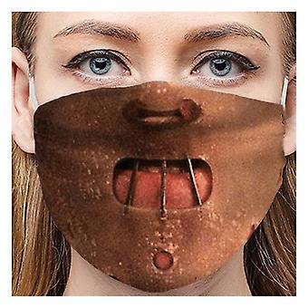 Masques imprimés universels pour adultes 1pc, housse extérieure de face d'équitation transparente windbreak