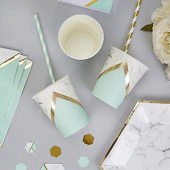 Colour Block Marble and Mint Paper Party Cup x 8