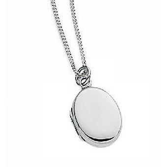 Elements Silver 925 Sterling Silver Ladies Engravable Small Oval Locket Necklace of Length 41-46cm
