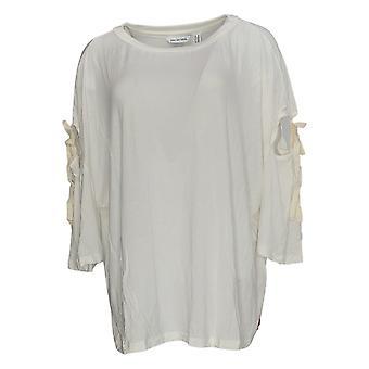 Peace Love World Women's Plus Top 3/4 Sleeve W/ Sleeve Ties Ivory A307448