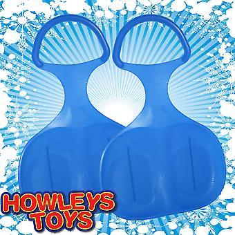 Pack de 2 Skimmer bosse traîneau à neige en plastique - tout bleu