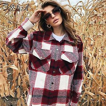 Frauen Plaid Jacke übergroße Vintage Taschen Outerwear
