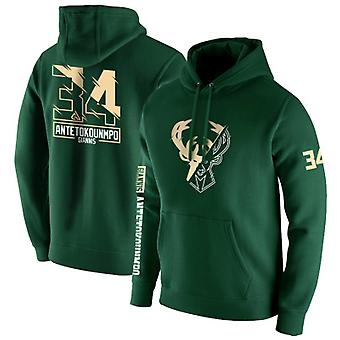 Milwaukee Bucks No.34 Antetokounmpo Pullover Hoodie Swearshirt Tops 3WY008