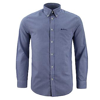 Ben Sherman Mens Checkered Shirt Long Sleeve Plaid Top 0062087 Blue