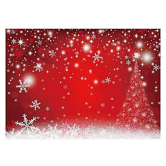 Allenjoy 7x5ft winter red and christmas tree background for photography snowflake bokeh photo backdr