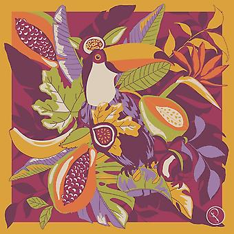 Powder Fruity Toucan Small Satin Square Scarf