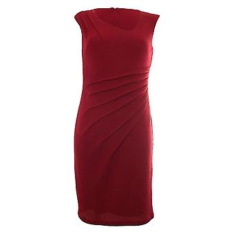 Frank Lyman Deep Red Jersey Knit Sleeveless Shift Dress With Tummy Pleat Detail