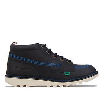 Boy's Kickers Junior Kick Hi Leather Boots in Blue