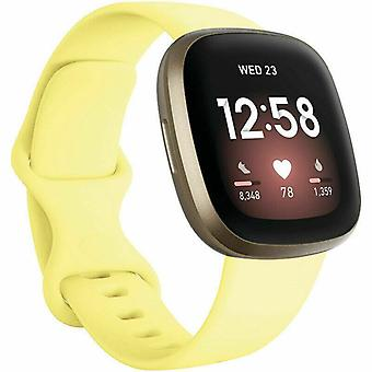 """for Fitbit Versa 3 / Sense Replacement Strap Silicone Band Bracelet Wrist[Small Fits Wrist 5.5"""" - 6.9"""",Yellow]"""
